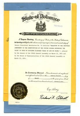 26th Amendment Ratification Form