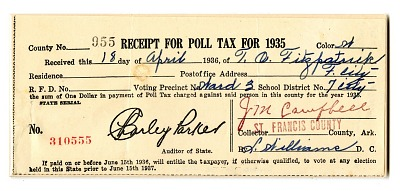 Poll Tax Receipt, 1935