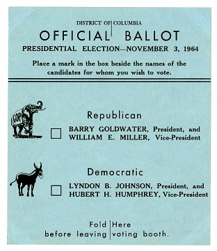 1964 Presidential Election Ballot