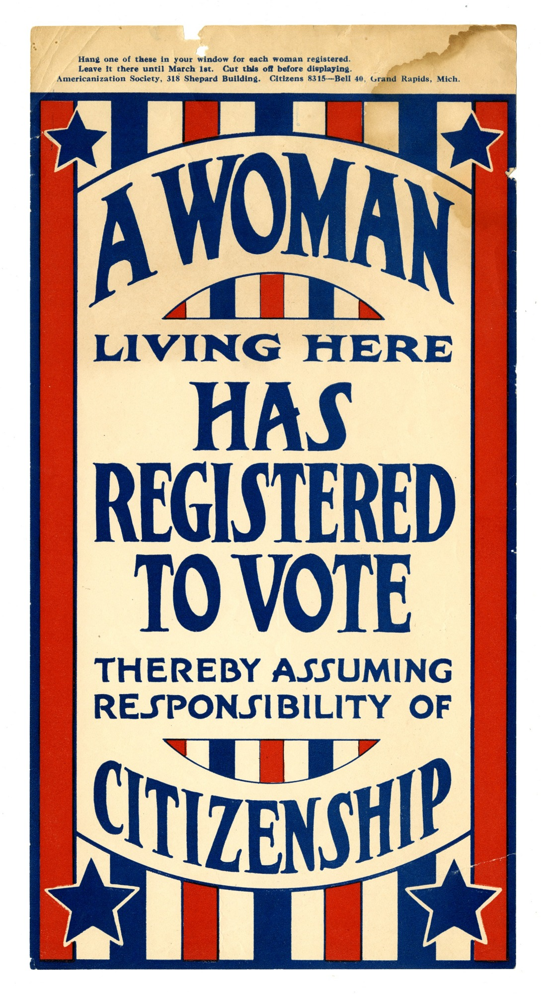 "images for Sign, ""A Woman Living Here Has Registered to Vote"", 1919"