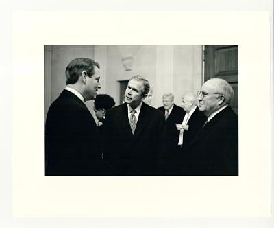 Vice-President Al Gore, President-elect George W. Bush and Vice-President-elect Dick Cheney