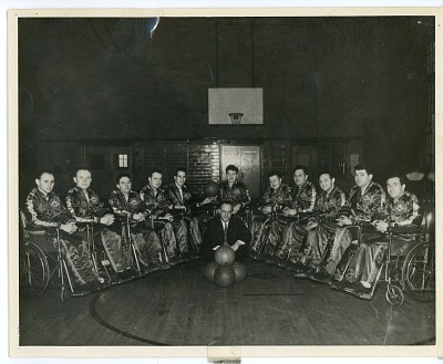 Photograph of wheelchair basketball team, the Jersey Wheelers