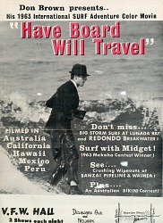 """Movie flyer for the surf movie """"Have Board Will Travel"""""""