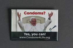 """""""Condoms? Yes you can!"""" button"""