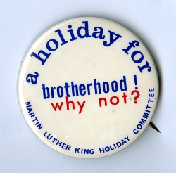 """Button, """"A Holiday for Brotherhood"""""""