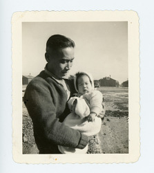 picture of father and daughter, Topaz, 1940s
