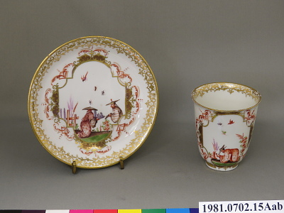 Meissen cup and saucer: one of a pair