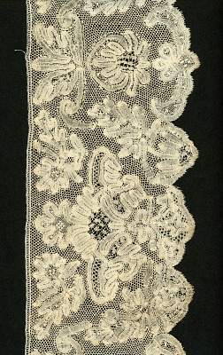 Flemish Tape Lace Flounce With Large Floral Motifs