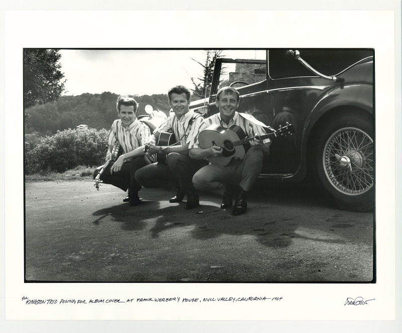 Image for The Kingston Trio posing for an album cover at Frank Werber's house. Mill Valley, CA , 1964