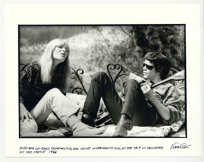 Nico and Lou Reed rehearsing for Velvet Underground gig at the Trip in Hollywood, at the Castle, 1965