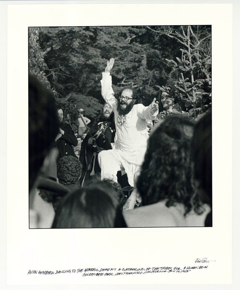 "Allen Ginsberg dancing to the Grateful Dead at a gathering of the Tribes for a ""Human Be-In,"" Golden Gate Park, San Francisco, CA, January 14, 1967."