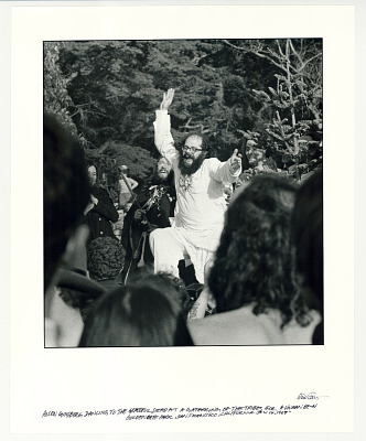 Allen Ginsberg dancing to the Grateful Dead at a gathering of the Tribes for a
