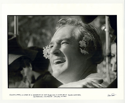 Timothy Leary on stage at a gathering of the Tribes for a