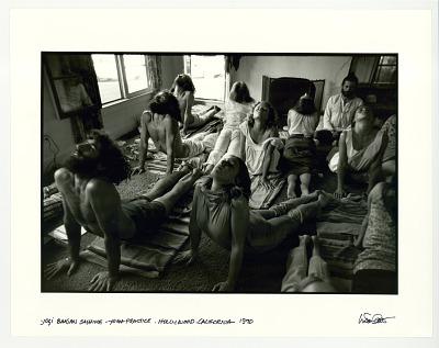 Yogi Bhajhan sashime-yoga practice. Hollywood, CA. 1970