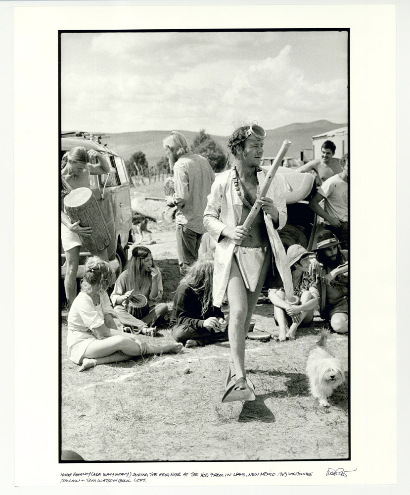 Hugh Romney (AKA Wavy Gravy), during the Frog Race at the Hog Farm. Llano, NM 1969. With Tzingee, Tom Law, and Steve Watson back left.
