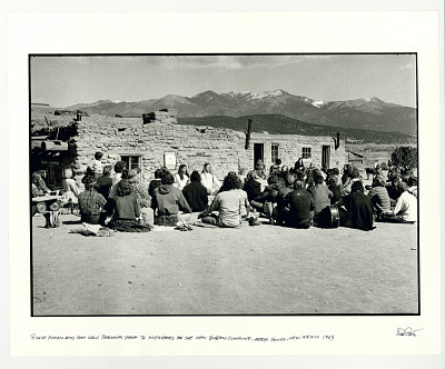 Richie Moon and Tom Law teaching yoga to the residents of New Buffalo Commune. Arroyo Hondo, NM. 1969