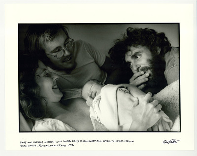 Kate and Nicholas Kirsten with Doctor David Rosensweet, just after home delivery of baby Dorje. Truchas, NM 1972.