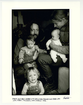 Frank and Chala Werber with Tom, Sunday Peaches, and Baba Law. Law farm, Truchas, NM 1973