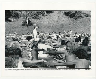 Yogi Bjahan, teaching yoga class at the summer solstice celebration