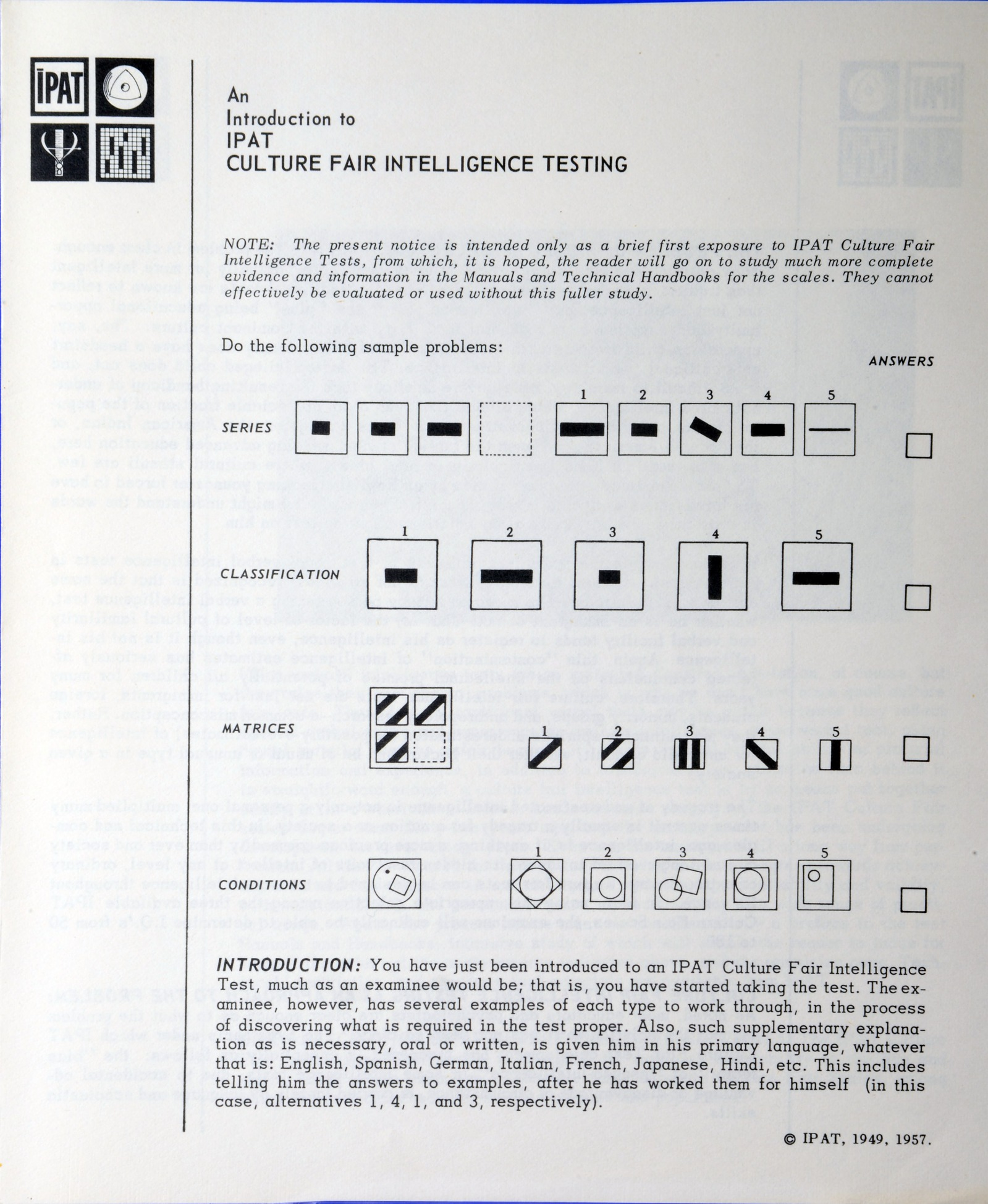 Resources :: Leaflet, IPAT Culture Fair Intelligence Tests