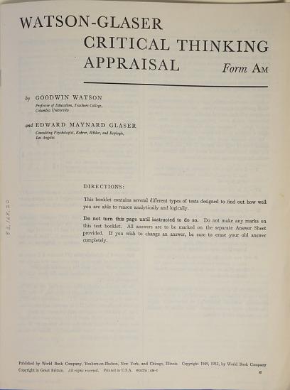 watson-glaser critical thinking appraisal form a