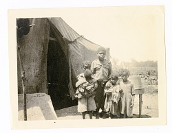 African-American Children outside Tent