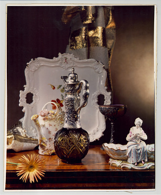 Still life with silver-top decanter
