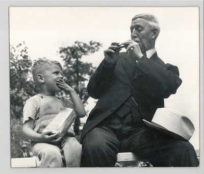 Elderly man and young boy