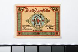 50 Pfennig Note. Aken/Elbe, Germany, 1921