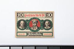 10 Pfennig Note, Allenstein, Germany, 1921