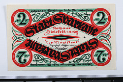 2 Mark Note, Bielefeld, Germany, 1918