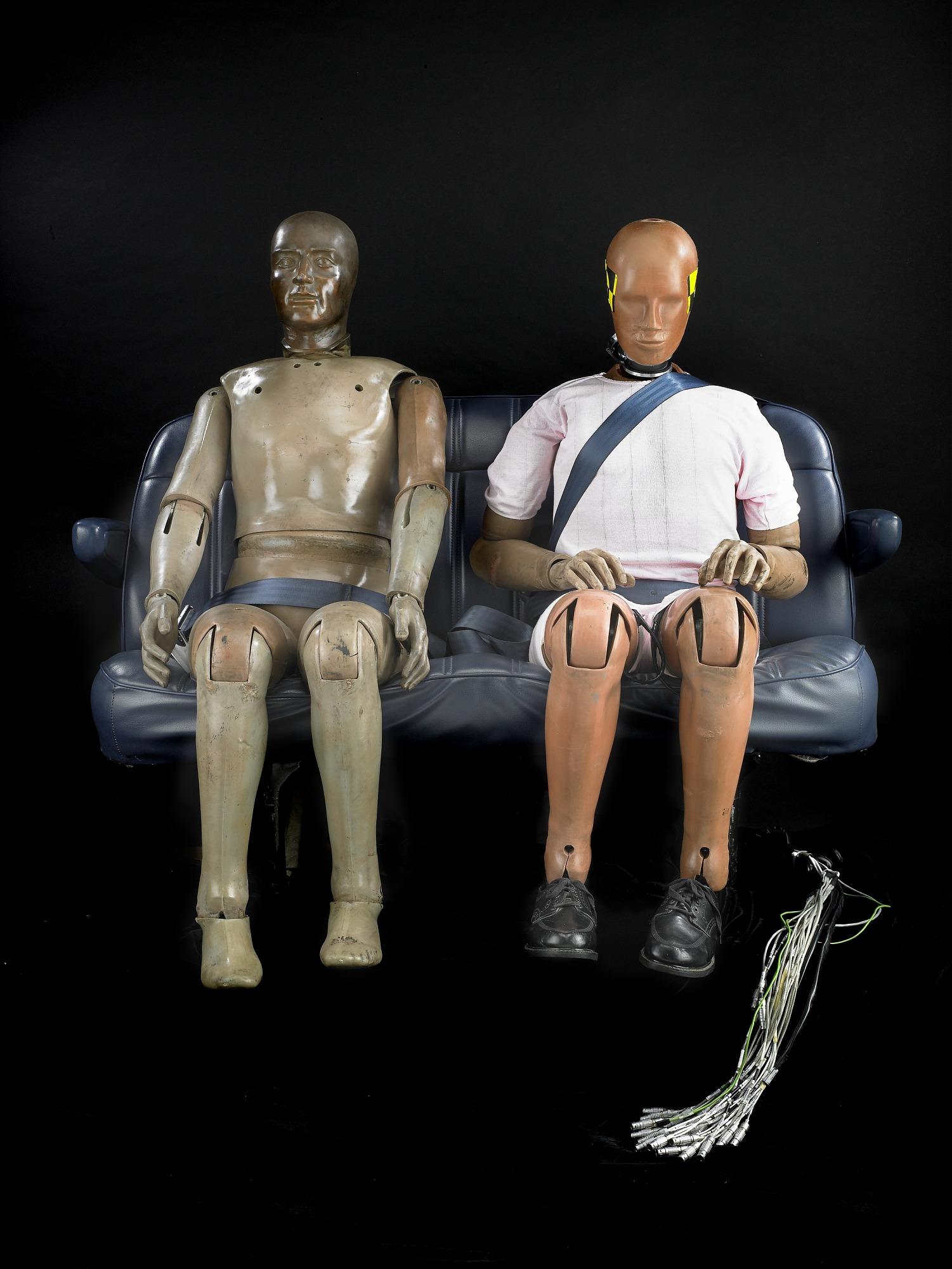 Hybrid II crash test dummy, 1970s (left)