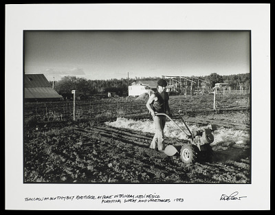 Man Working in a Field with a Tiller