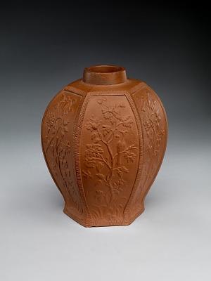 Meissen red stoneware tea caddy