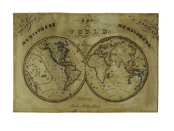 1831 World Map by Marianne S. Fernald, Student at Charlestown Female Academy