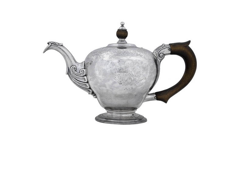 Silver Teapot made for Abigail Robinson of Newport, RI
