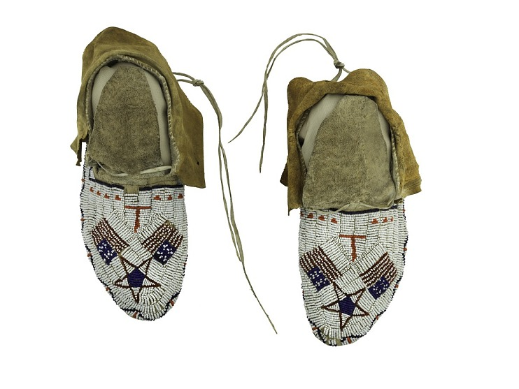 American Flag Moccasins, 1870s