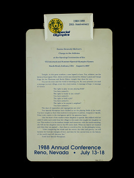 Special Olympics 20th Anniversary clipboard belonging to Eunice Shriver