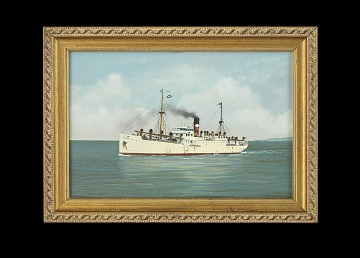 Oil Painting of Cargo & Passenger Ship HIBUERAS, Early 20th Century