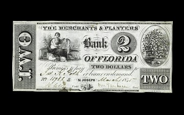 2 Dollar Bank of Florida Note, 1840s