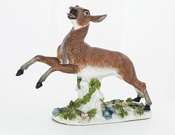 Meissen figure of a deer: one of a pair