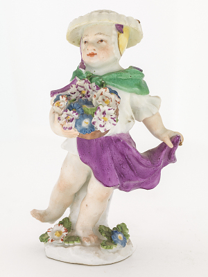 Meissen figure of a girl with flowers