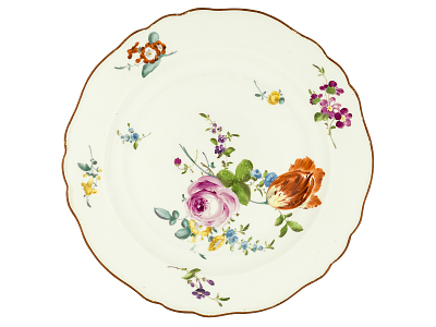 Meissen plate: one of a pair