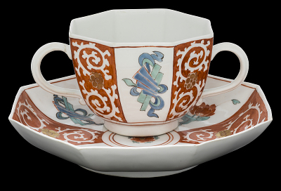 Meissen two-handled cup and saucer