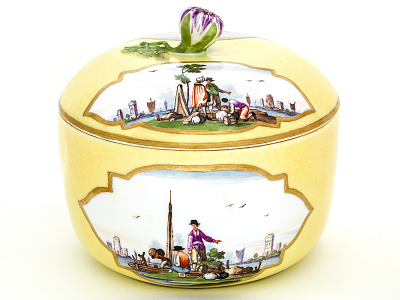 Meissen sugar bowl and cover