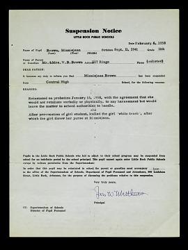 Minnijean Brown-Trickey's suspension notice February 6, 1958