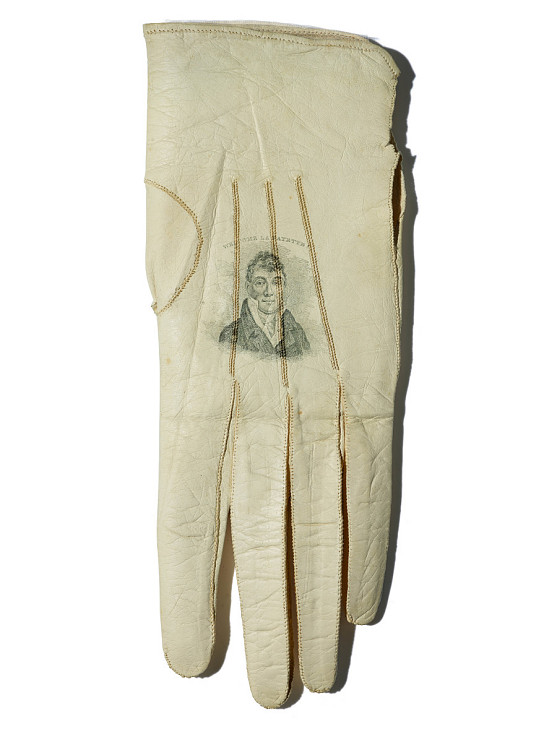 Lady's glove with a portrait of Lafayette, The United States, 1824–25