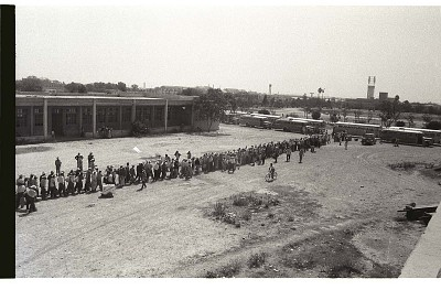 Braceros Waiting to Board Buses