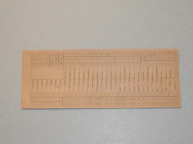 images for Hollerith Punch Card for Use in the Baltimore Census of Mortality