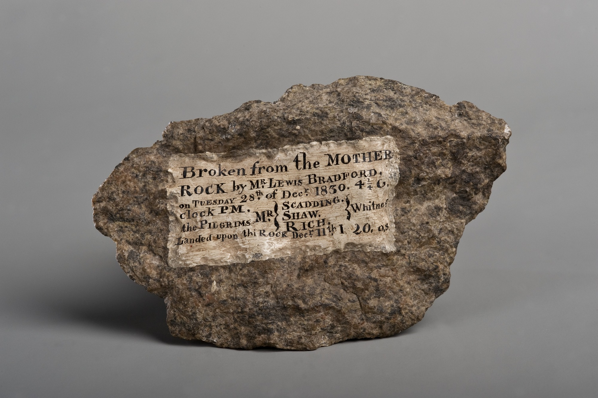 images for Plymouth Rock fragment with painted inscription, 1830